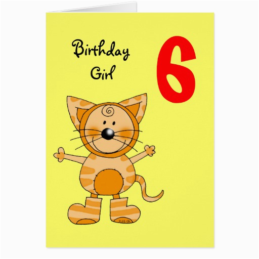 Birthday Cards For 6 Year Olds Old Girl Greeting Card Zazzle