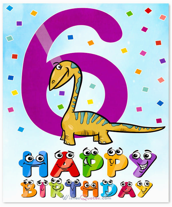 Birthday Cards For 6 Year Olds Happy 6th Wishes Old Boy Or