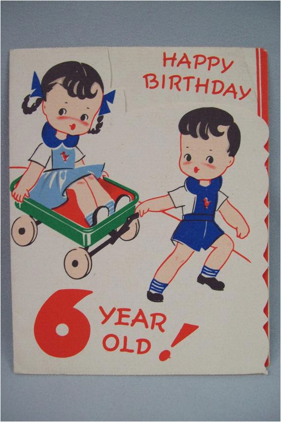 Birthday Cards For 6 Year Olds Happy Old Vintage Greeting Card