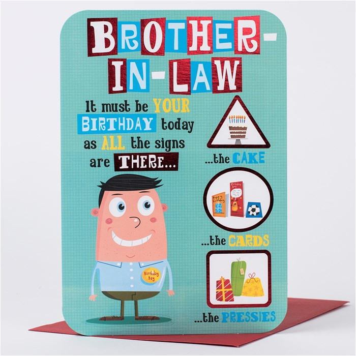 birthday card brother in law birthday signs only 99p