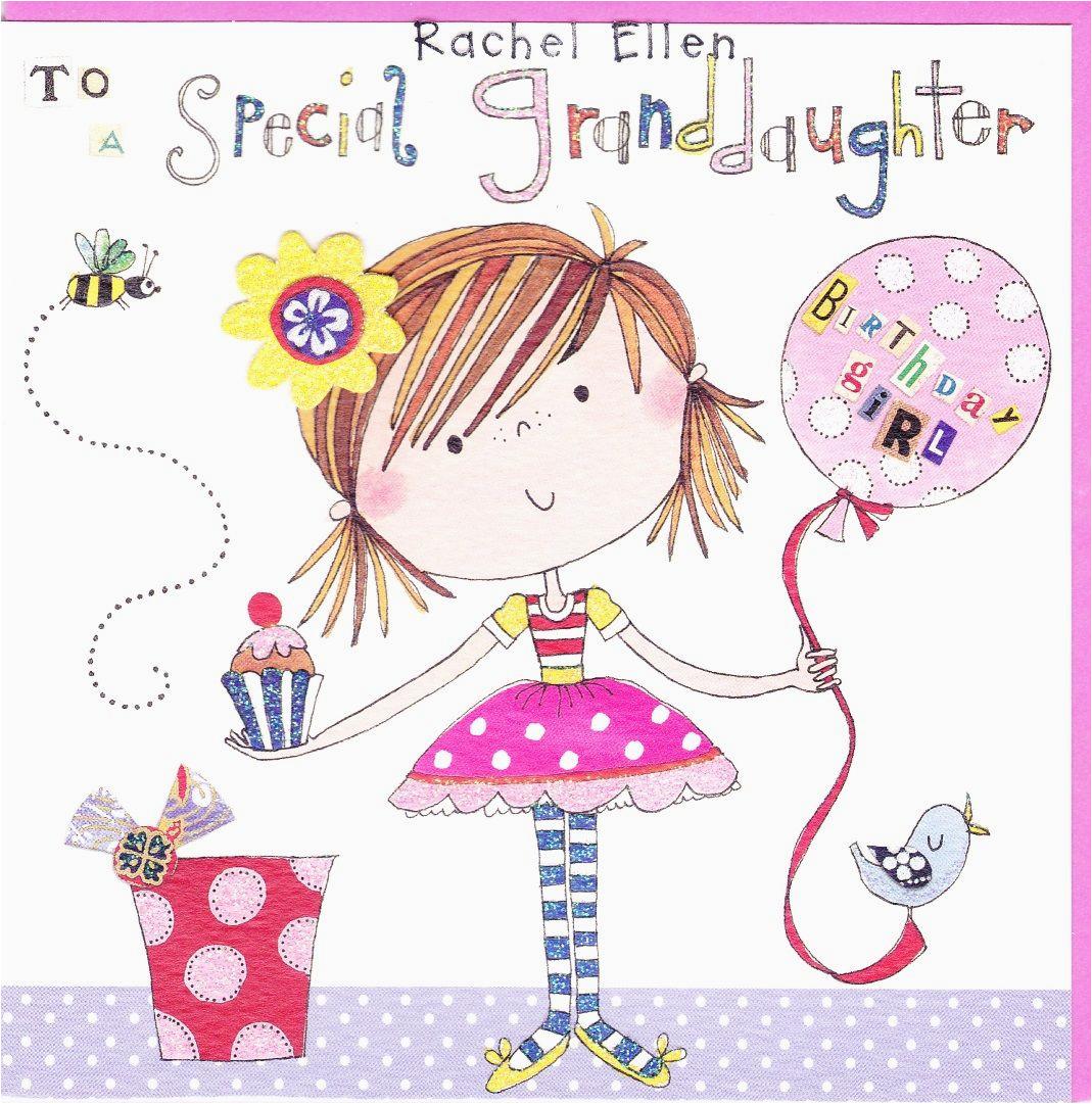 girl balloon special granddaughter birthday card