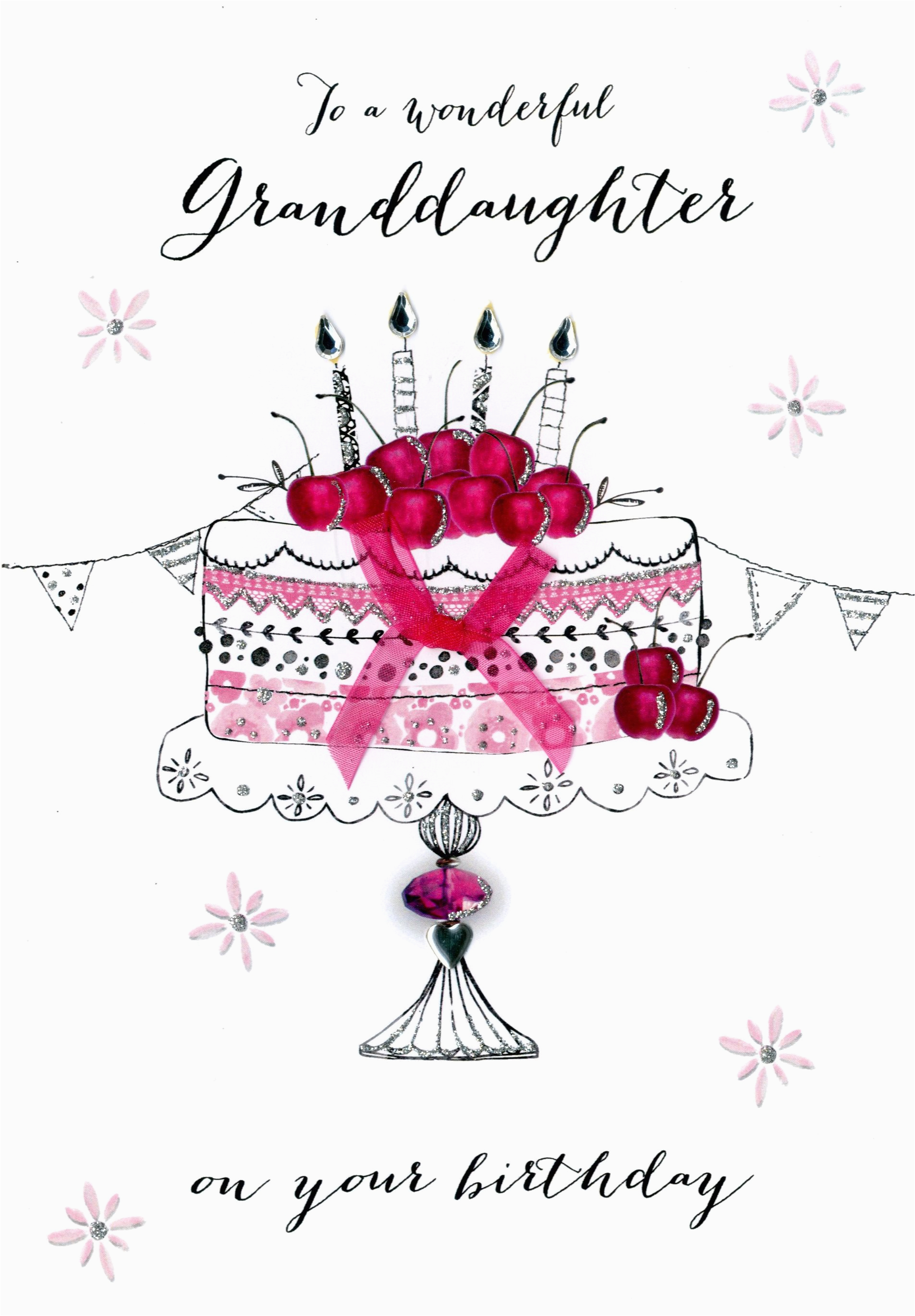 Birthday Cards for Granddaughters Wonderul Granddaughter Birthday Embellished Greeting Card