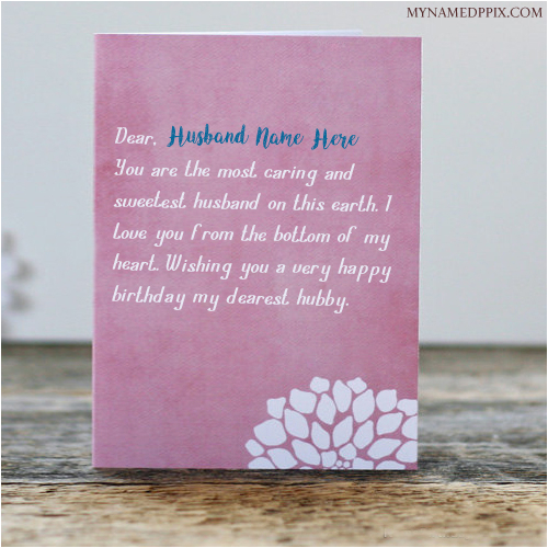 Write Husband Name Birthday Greeting Wish Card Image