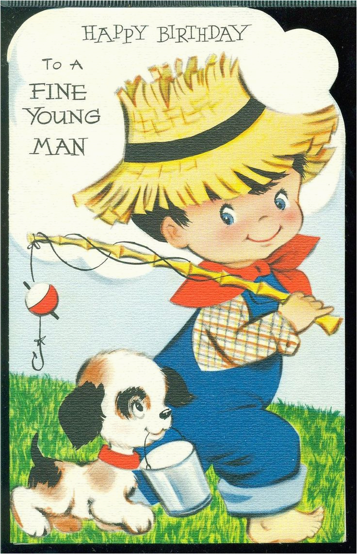 vintage birthday card for little boy birthday wishes