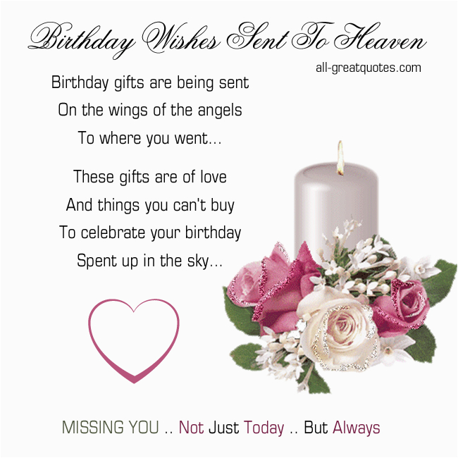 Birthday Cards For Mom In Heaven Quotes Wishes To Quotesgram