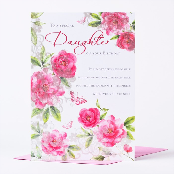 birthday card flowers to a special daughter only 59p