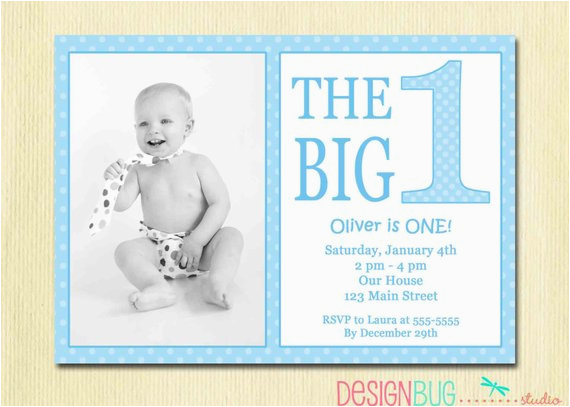 Birthday Cards For One Year Old Baby Boy The Big First Invitation