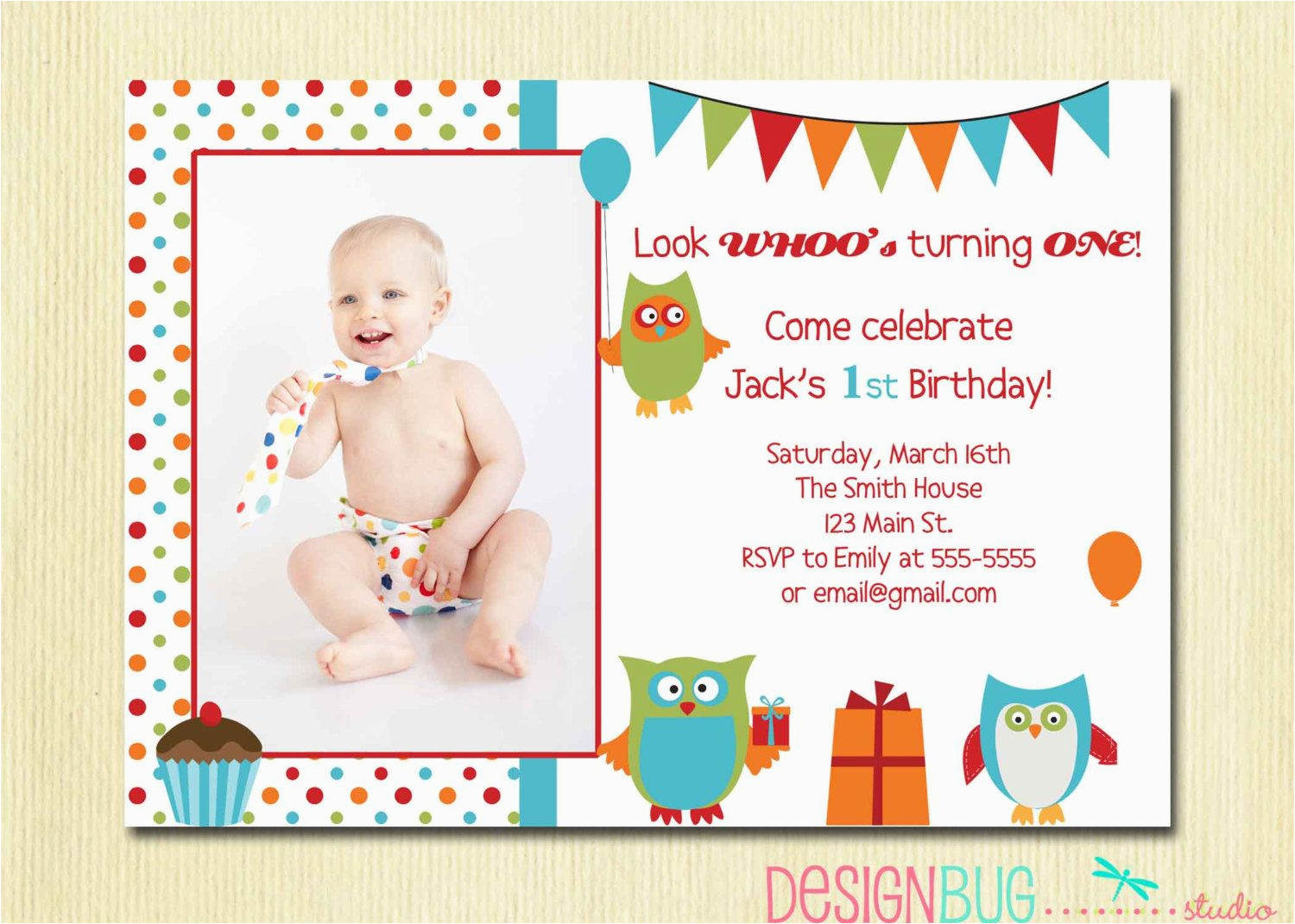 Birthday Cards For One Year Old Baby Girl Owl Boy Invitation First 1 2