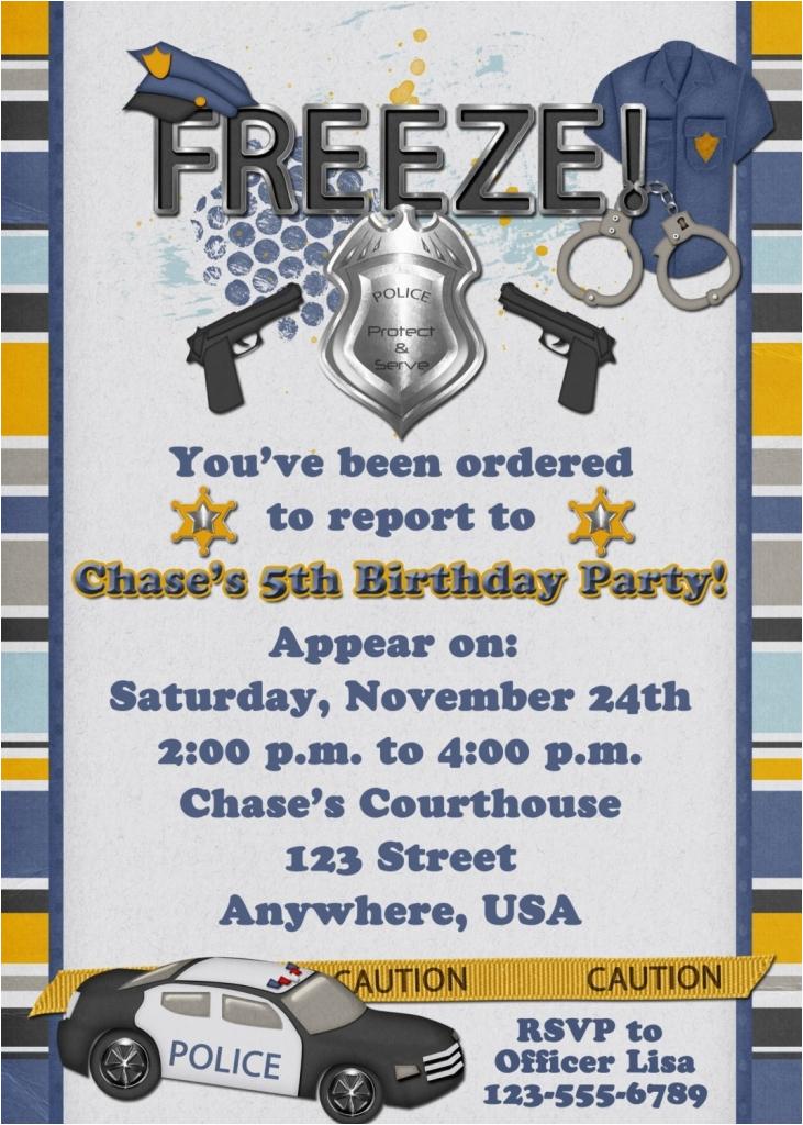 police birthday cards