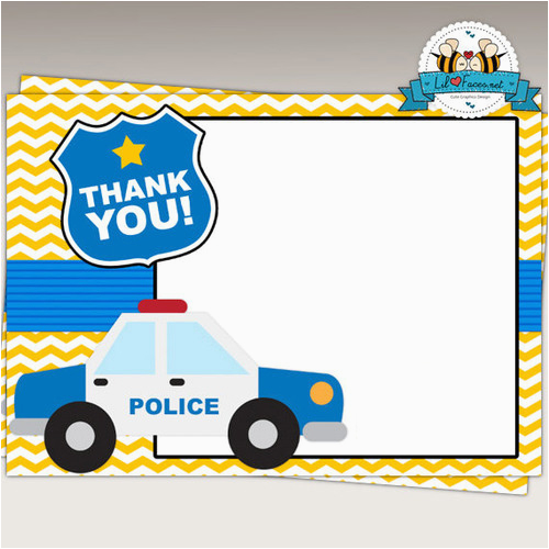 police birthday party thank you cards instant download