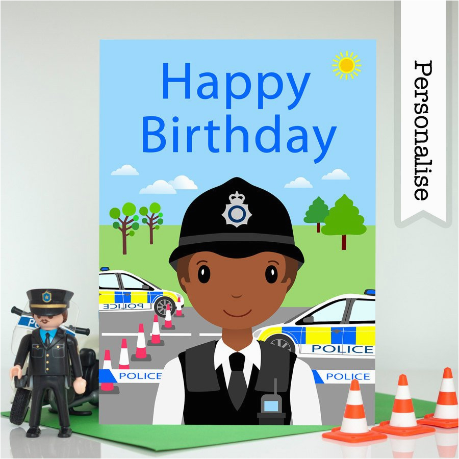 Birthday Cards for Police Officers Police Officer Firefighter Birthday Card Personalised Kids