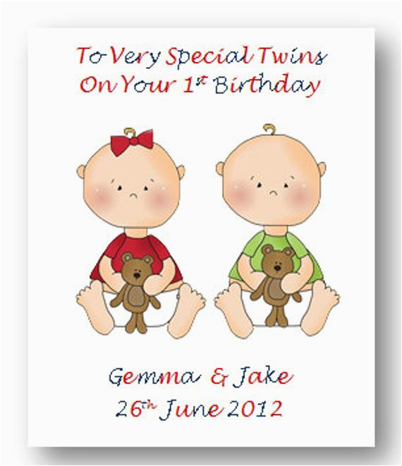 Birthday Cards For Twin Boys Personalised Babies First 1st Card 2nd