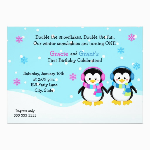 Birthday Cards For Twins Boy And Girl Penguin Invitation Card Zazzle