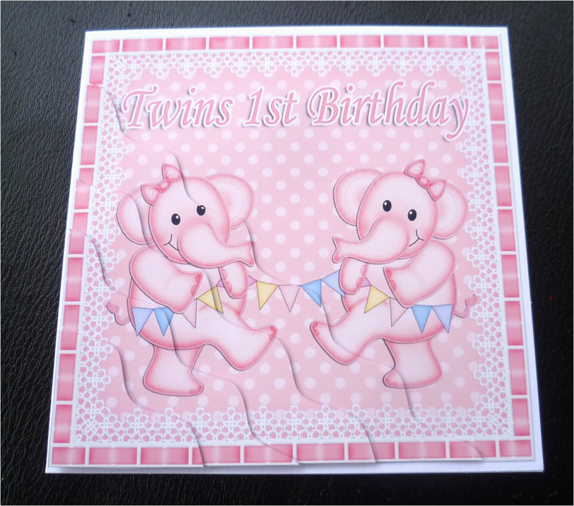 Birthday Cards For Twins Boy And Girl 1st Elephants Card Girls Boys Or