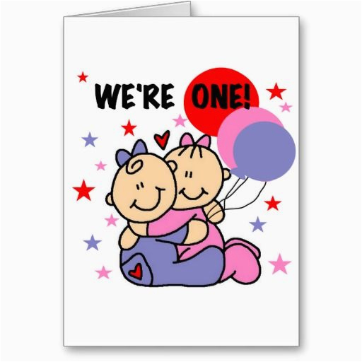 Birthday Cards For Twins Boy And Girl We 39 Re One Tshirts Gifts