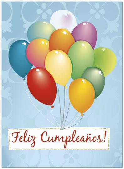 Birthday Cards In Spanish Feliz Cumpleanos Feliz Cumpleanos Balloons Card Spanish Birthday Cards