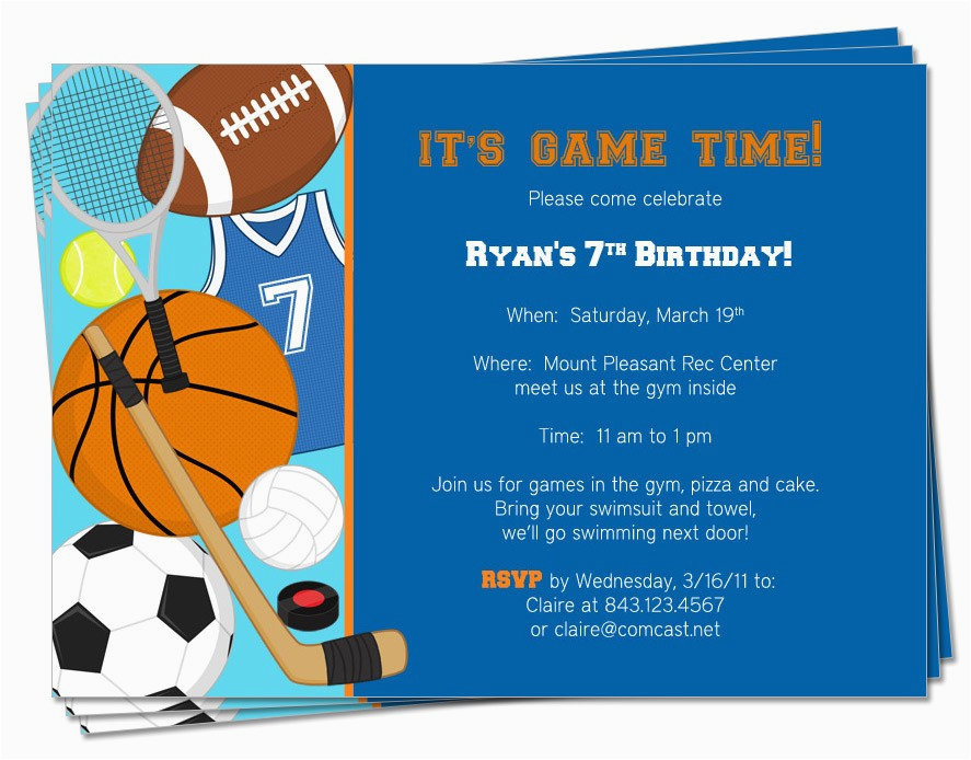 Birthday Cards Sports Theme Printable Invitation By