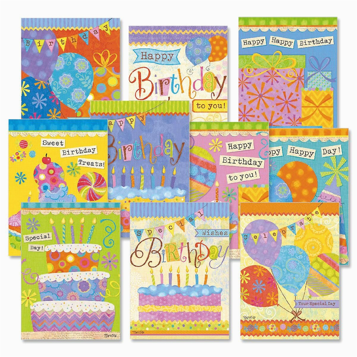 banner day birthday cards value pack colorful images