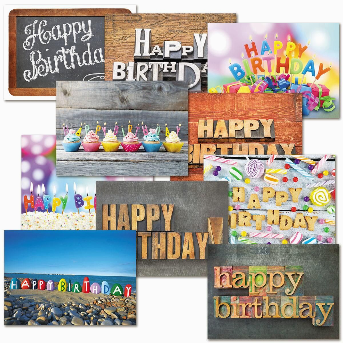 playful type birthday cards value pack colorful images