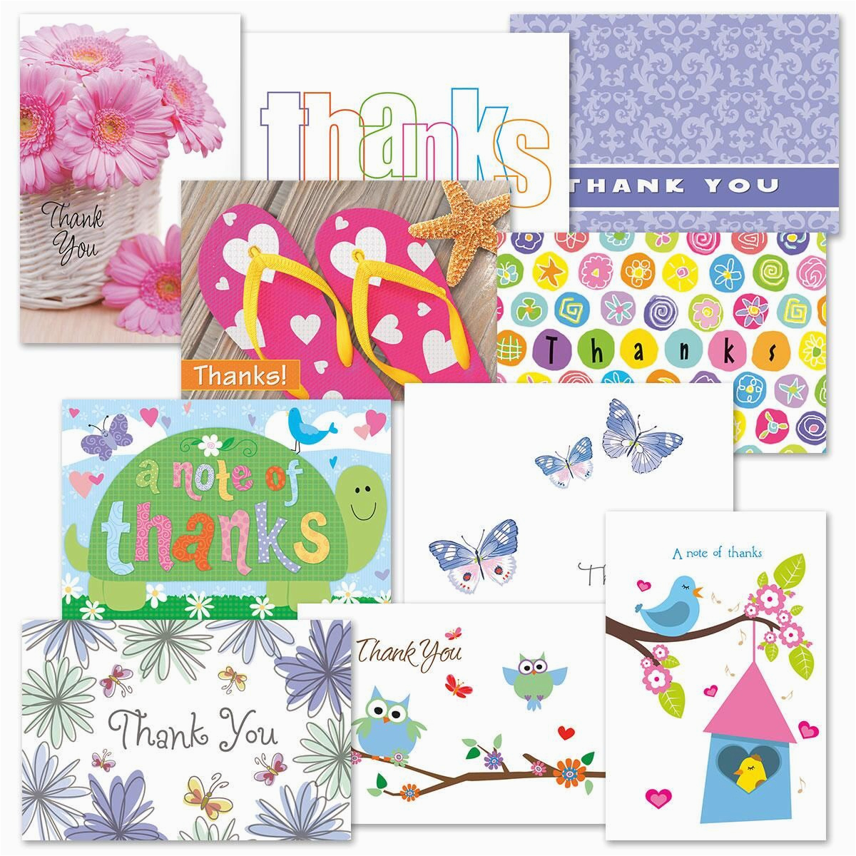 thanks greeting card value pack colorful images