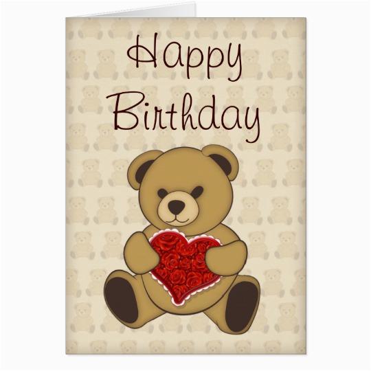 cute teddy bear with roses birthday card 137499730175242521