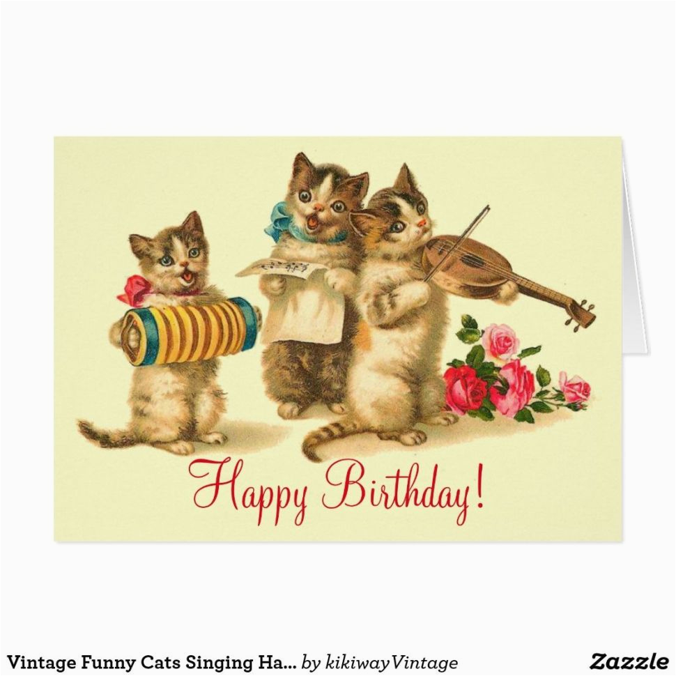 Birthday Cards With Cats Singing Vintage Funny Happy Card