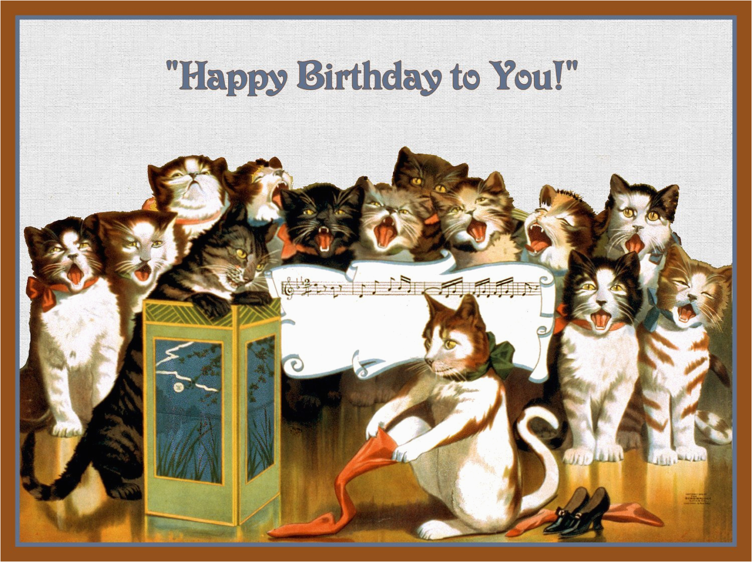 group of cats singing happy birthday refrigerator magnet