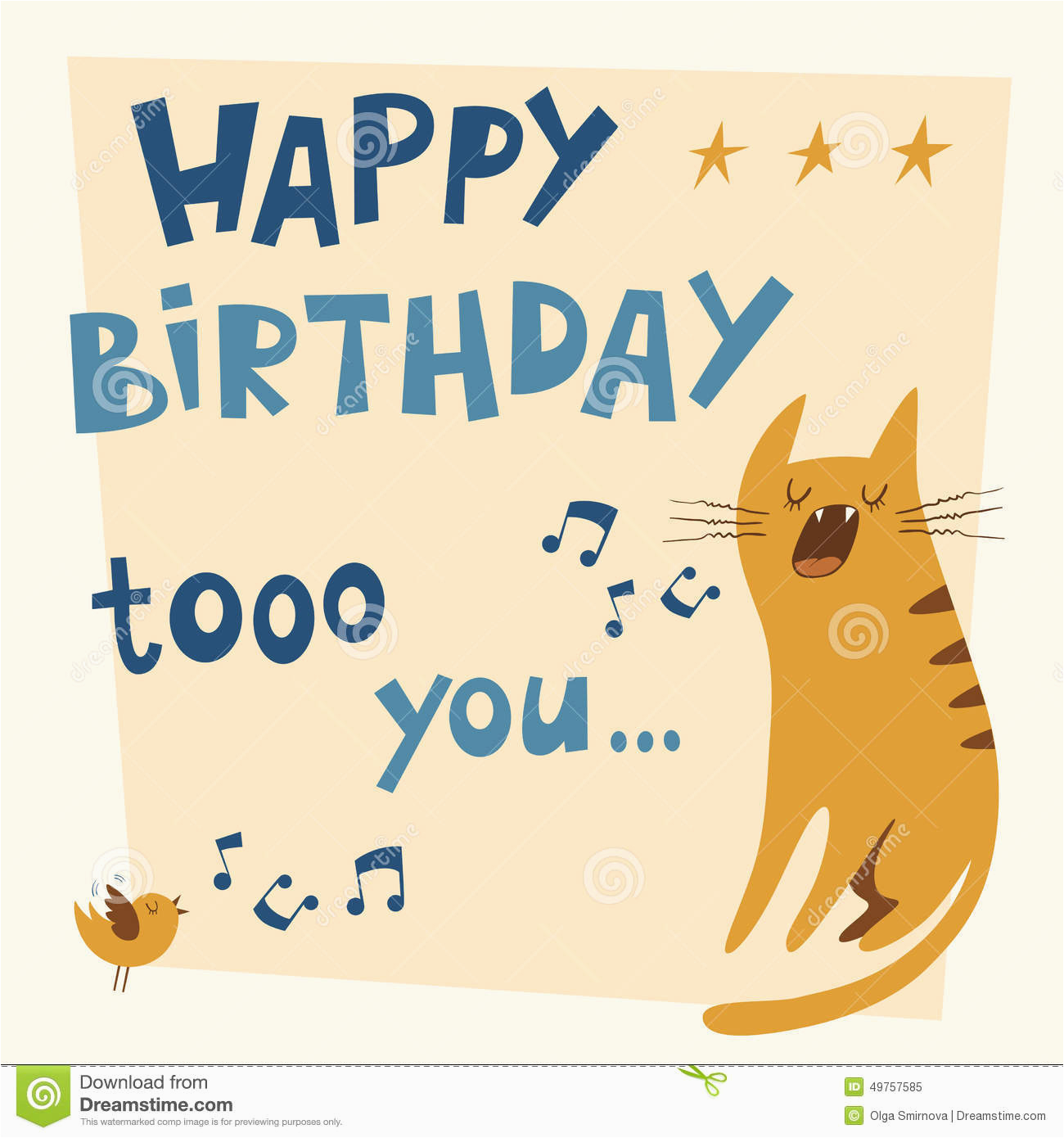 Birthday Cards With Cats Singing Happy Vector Card Stock Illustration Jpg 1300x1390
