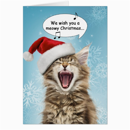 Birthday Cards With Cats Singing Cat Christmas Card Zazzle Com