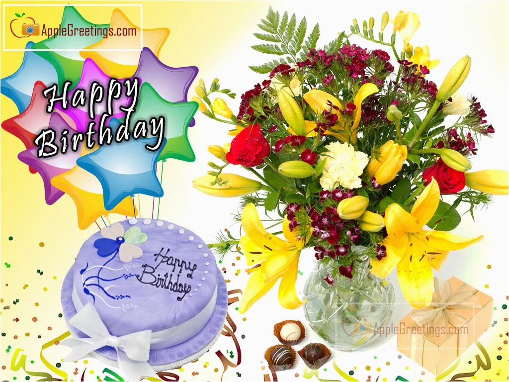 Birthday Cards With Flowers And Cake Happy Wishes J 440 1