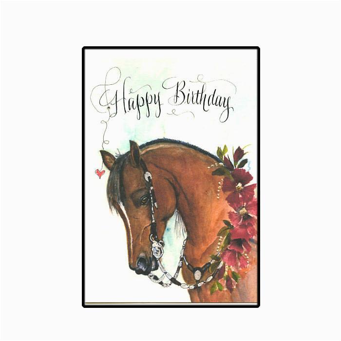 western show horse birthday card in