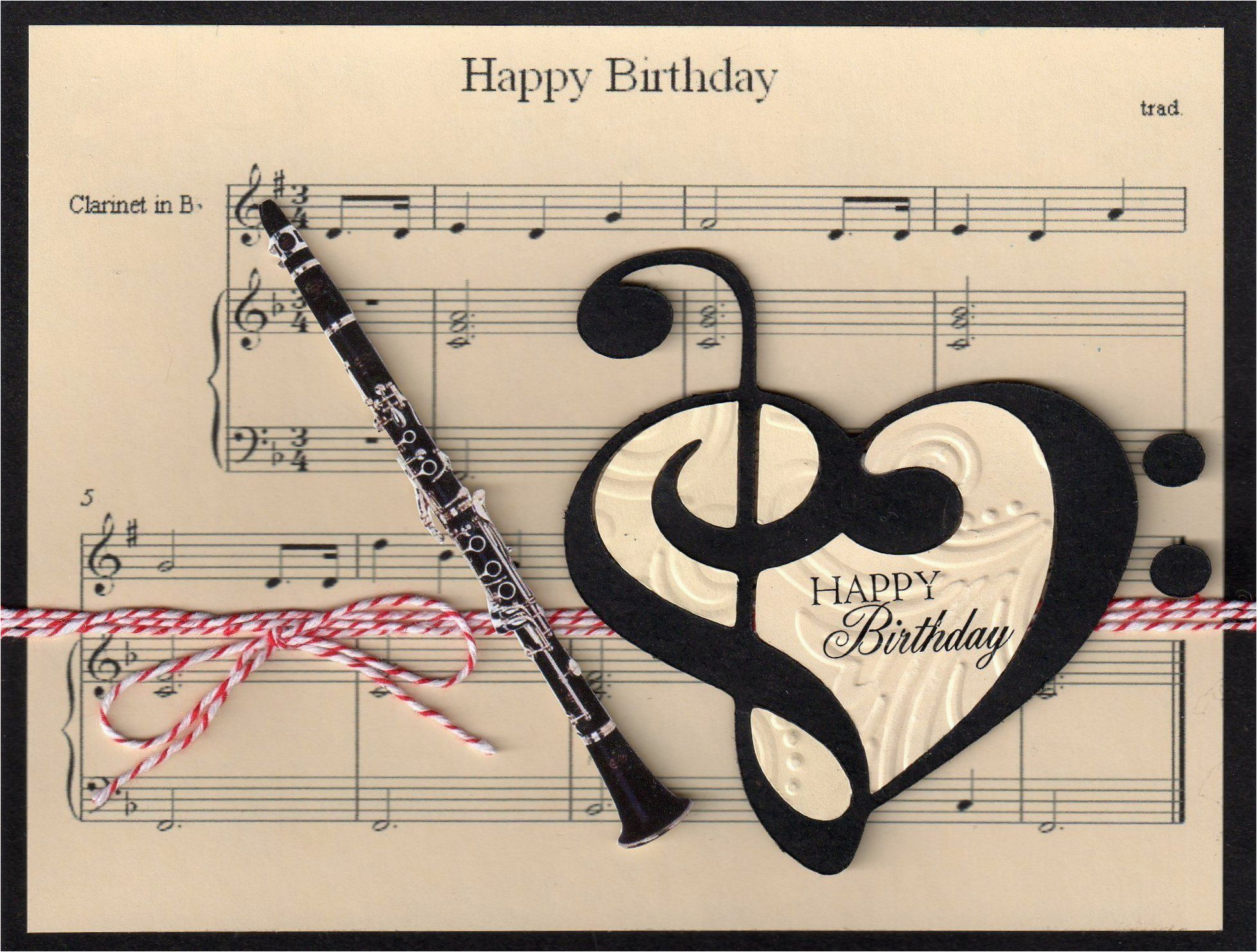 music clarinet birthday card pages prints and papers
