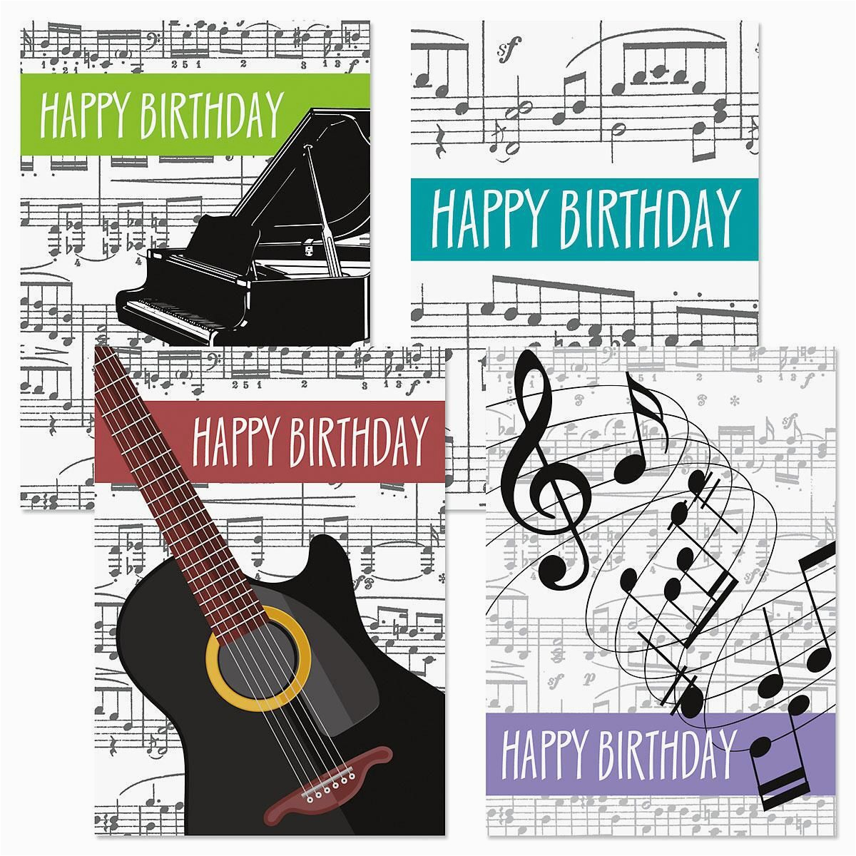 Music Theme Birthday Cards Colorful Images