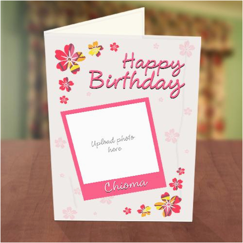photo upload pink petals birthday card greetings world
