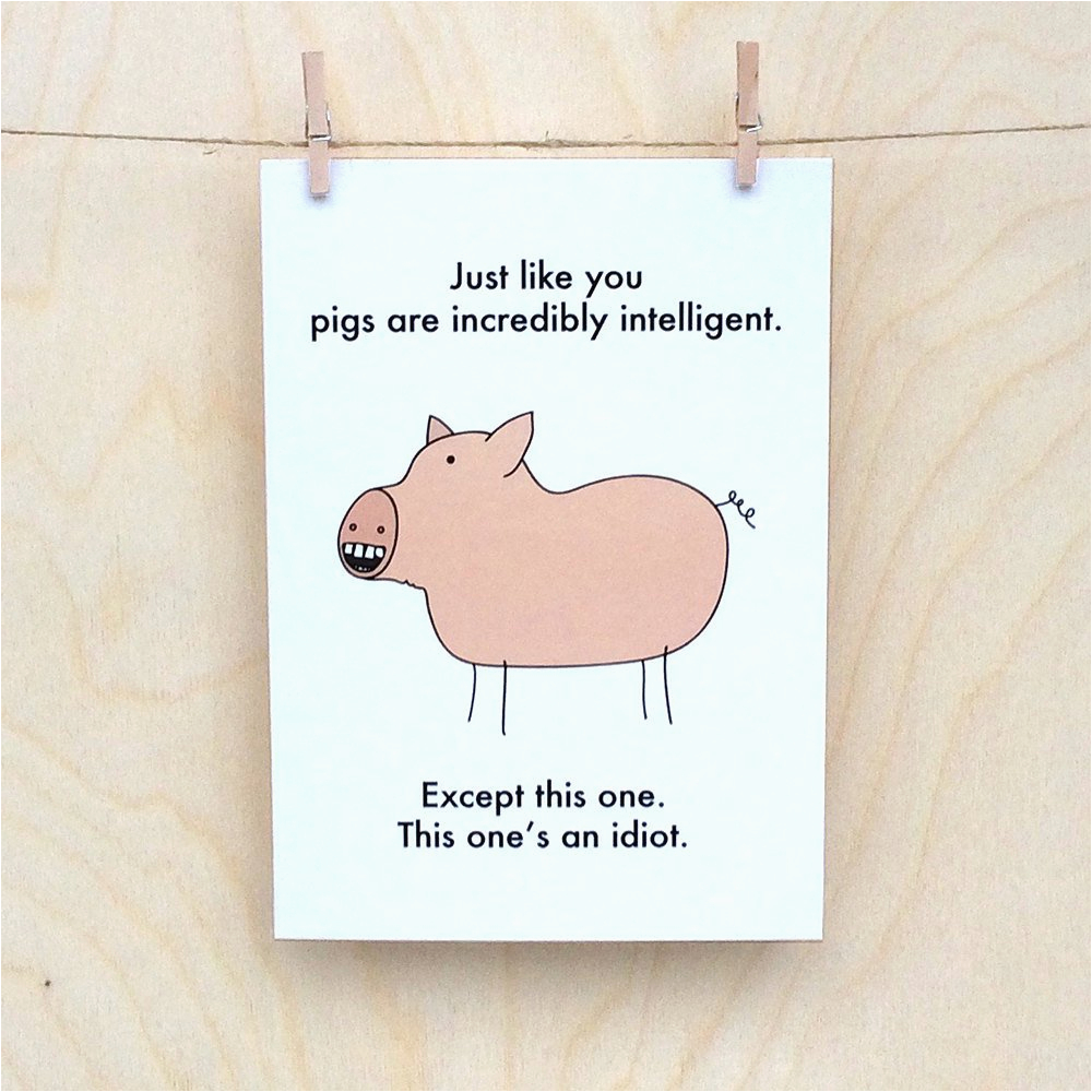 funny birthday card funny card funny pig