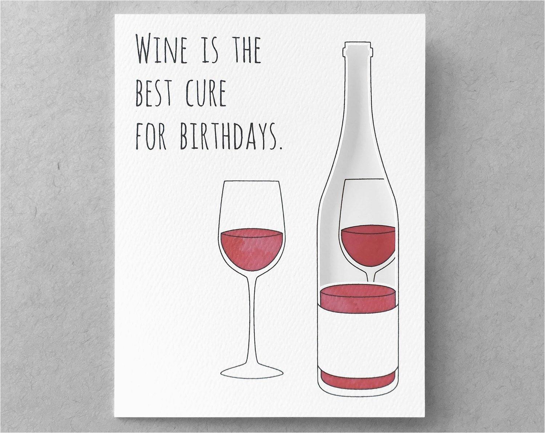wine birthday card funny birthday card sister birthday