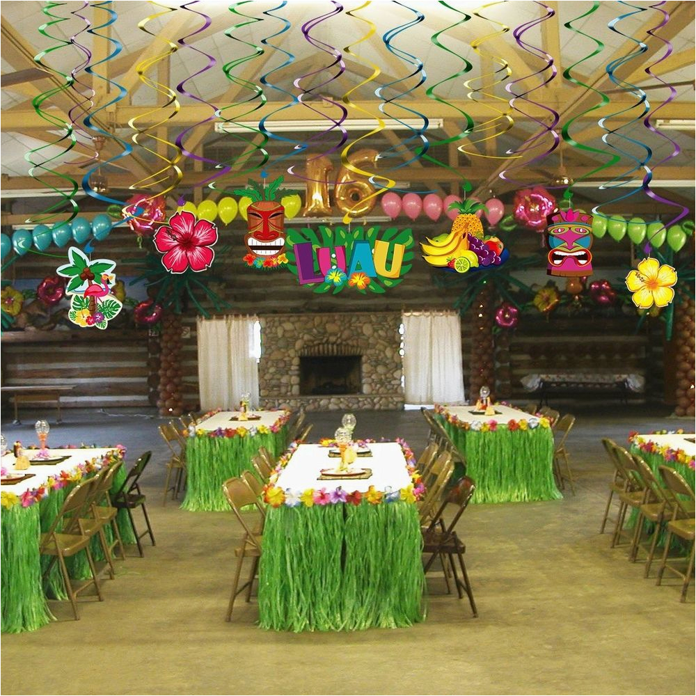 Birthday Decoration Stores Hawaiian Party Decorations Supplies Hanging Swirls For