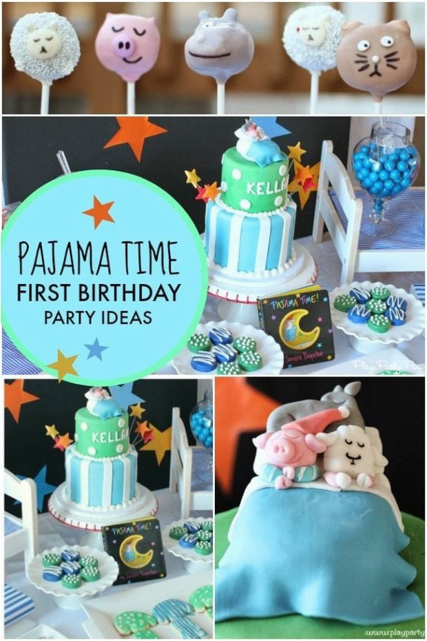 a pajama time boys 1st birthday party