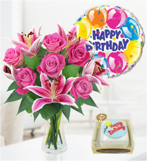 Birthday Flowers And Balloons Images Happy Cake With Www Imgkid