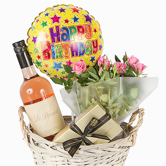 Birthday Flowers And Wine Rose Gift Basket Happy Delivered Next Day
