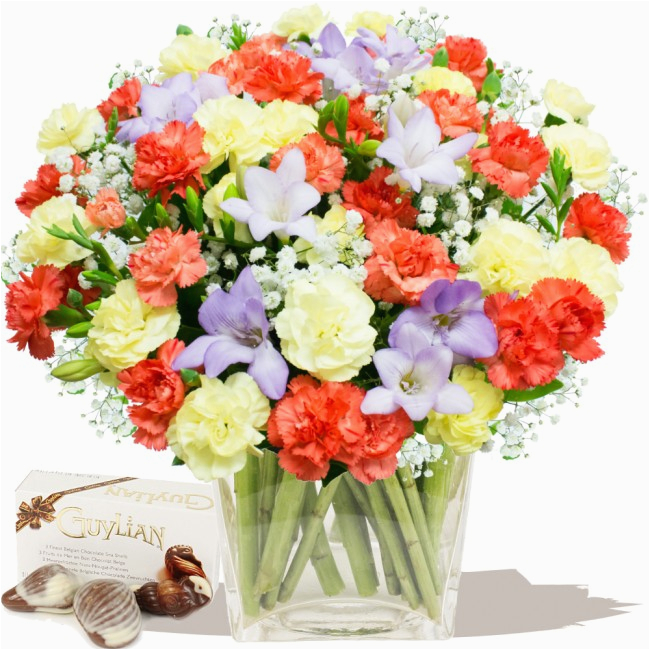 scented birthday bouquet chocolates freesias by post