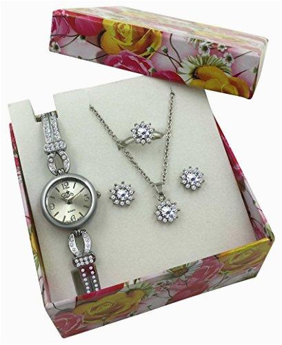 Silver Watch Jewelry Gift Set Women Girls Flower