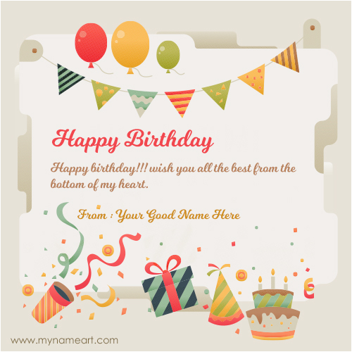 Birthday Greeting Card with Name and Photo Happy Birthday Greeting