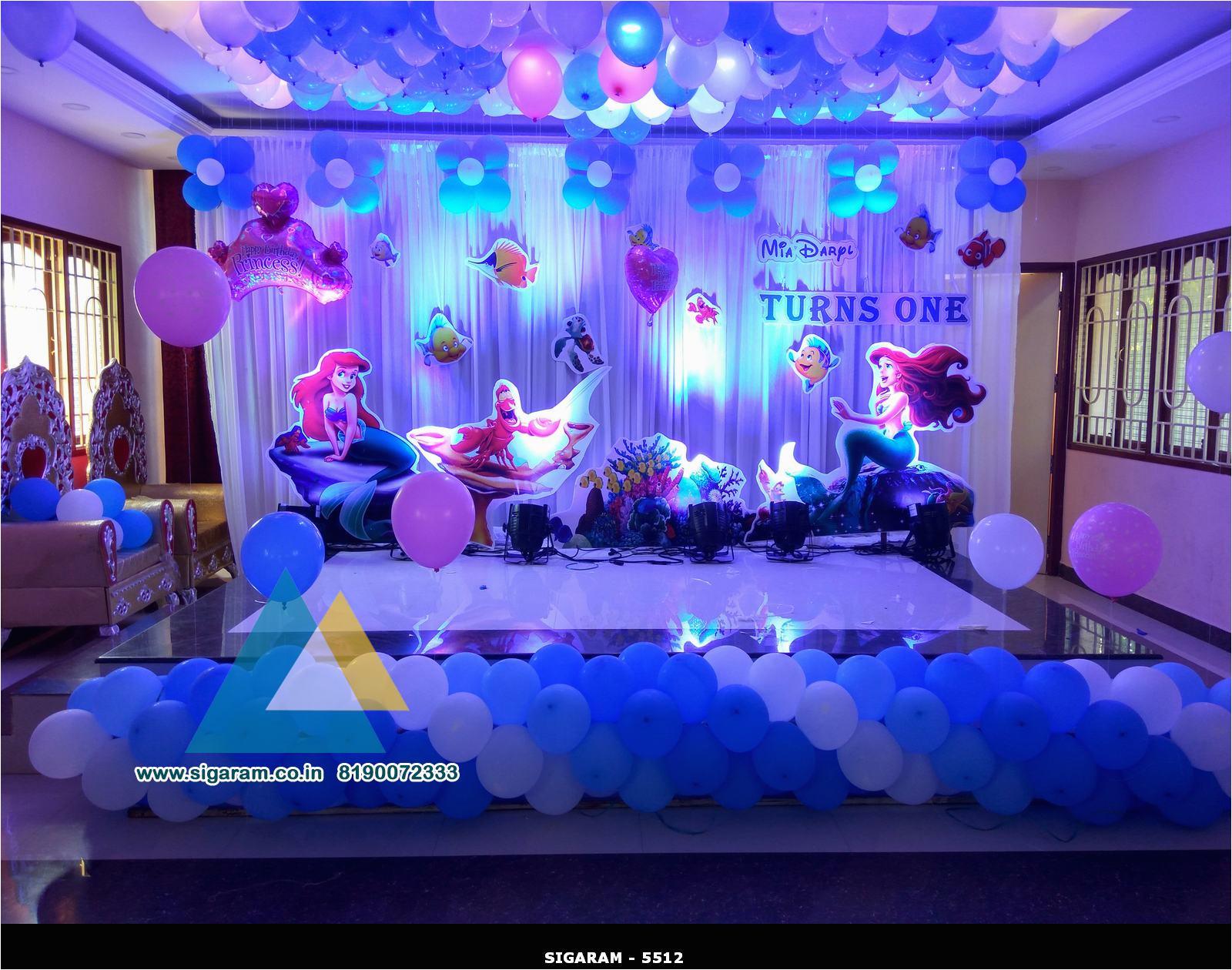 little mermaid themed birthday decoration celebration hall pondicherry