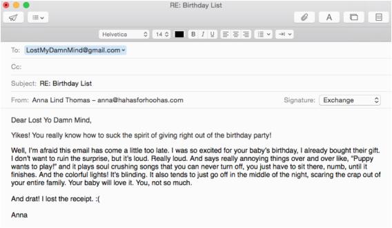 Birthday Invitation Email Message