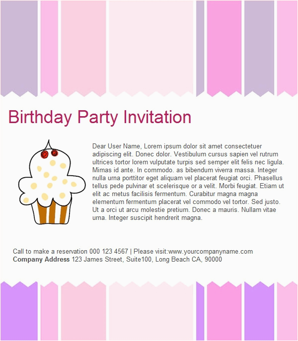 Birthday Invitation Email Message Template 23 Free Psd Eps