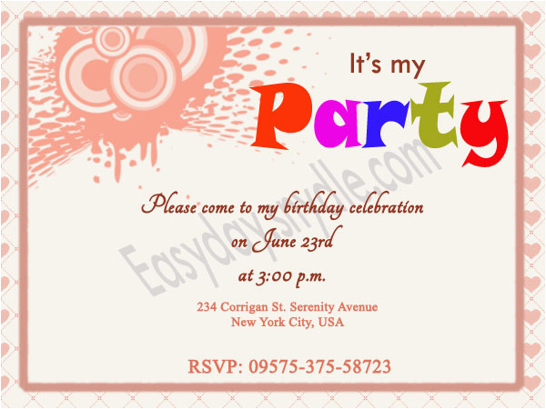 Birthday Invitation Email Message