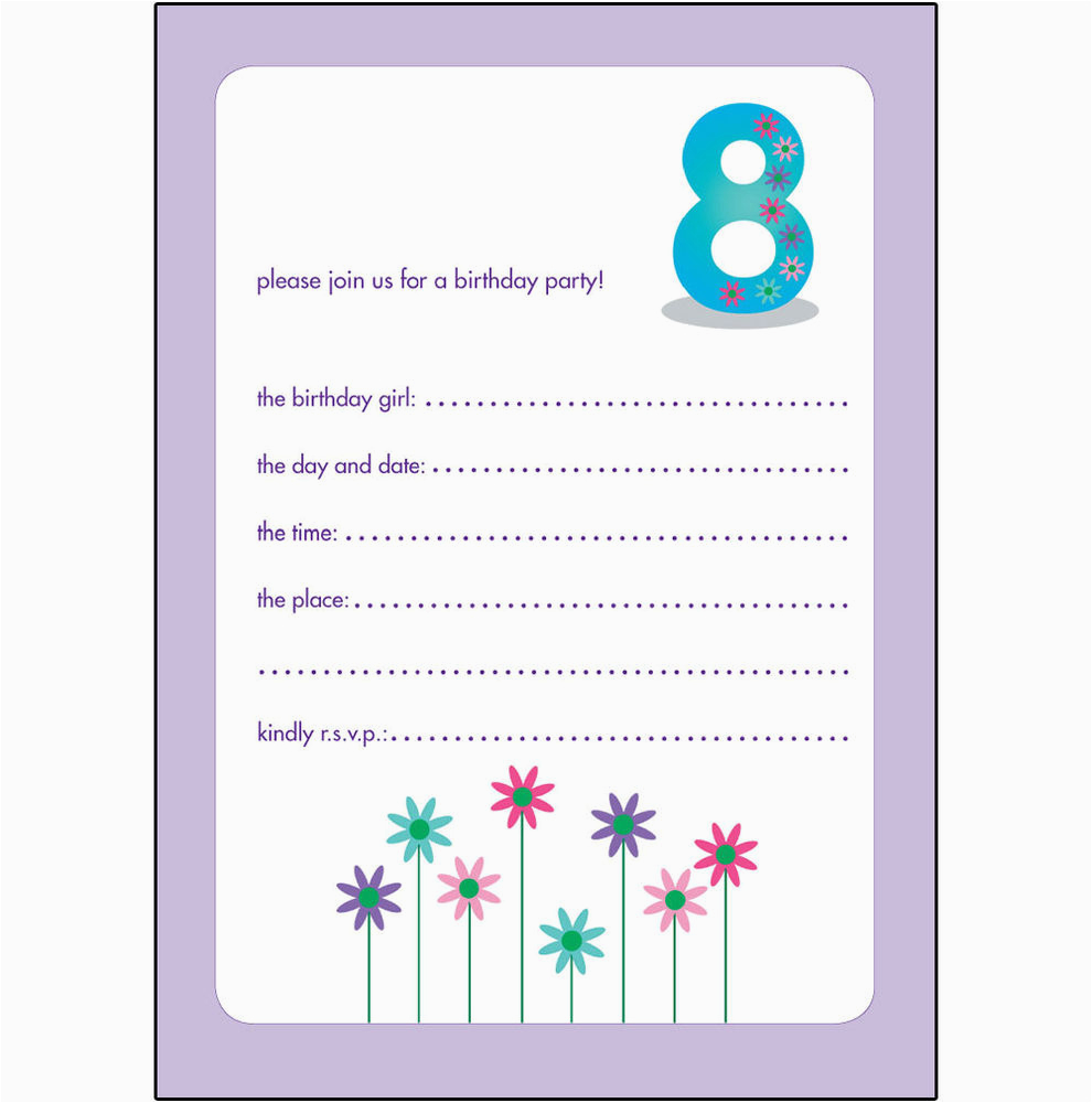 Birthday Invitation For 10 Years Old Girl Childrens Party Invitations 8