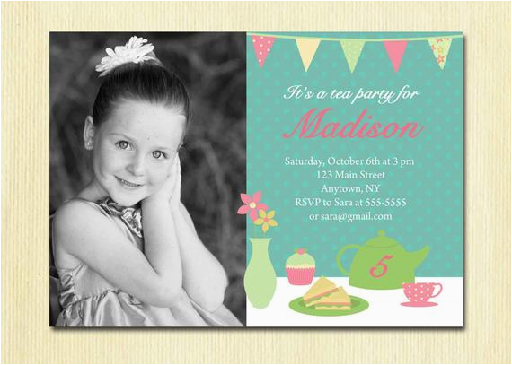 girls tea party invitation birthday girl