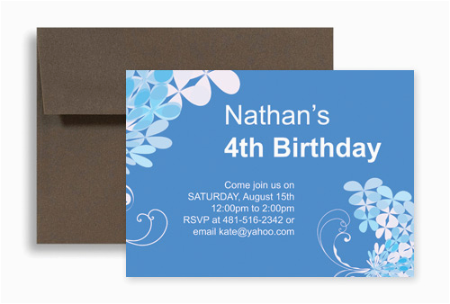 Word Template Blue Boy Four Year Old Birthday Invitation Design Kid 1028